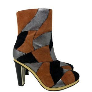 Rodarte & Other Stories Patchwork Leather & Suede Ankle Boots Size EUR 39 US 9